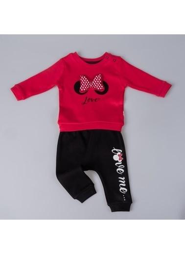 POKY Kız Bebek Takımı Miki Fiyonklu Love Kırmızı